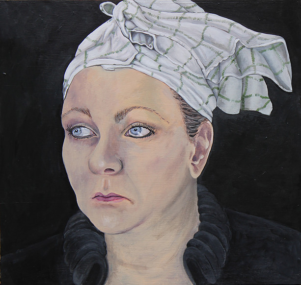 Woman With Tea Towel On Her Head