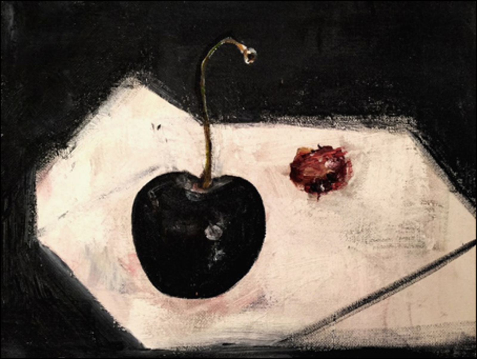 Still life with cherry and stone