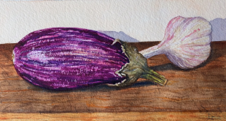 Buy art Striped aubergine and fresh garlic
